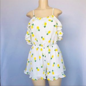Pineapple White Ruffle Cold shoulder Romper